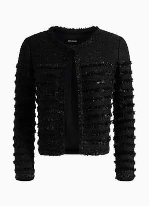 St. John Shimmering Textured Tweed Jacket