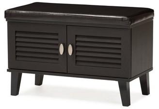 Baxton Studio Sheffield 2-door Dark Brown Wood Bench Shoe Rack Cabinet