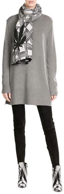 Jil SanderJil Sander Navy Wool Turtleneck Tunic Pullover