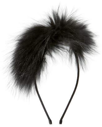 Bari Lynn Girls' Royal Fur Headband, Black