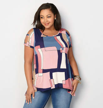 Avenue Geo Square Caged Sleeve Top