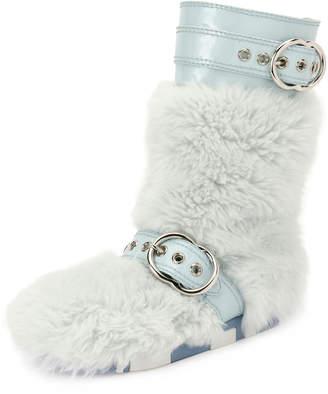 Miu Miu Faux-Fur Boot with Buckle Detail, Blue