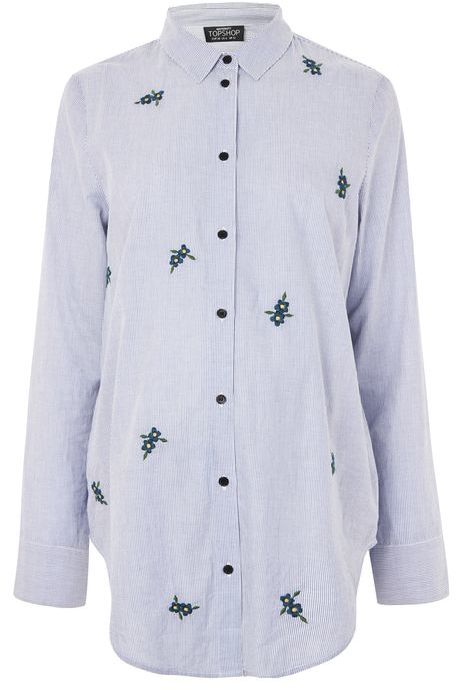Topshop Topshop Maternity floral embroidered stripe shirt