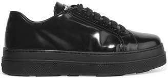Prada Glossed-leather Platform Sneakers - Black