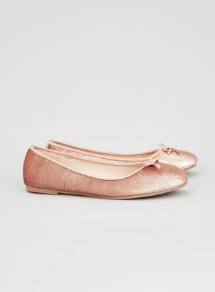 Evans WIDE FIT Pink Sequin Ballerina Shoes