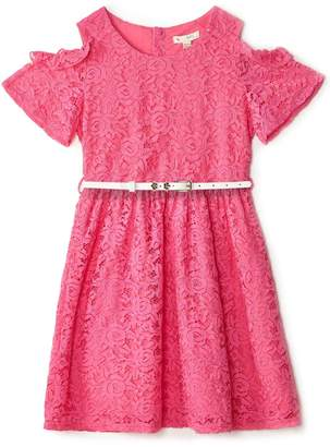 Yumi Girls Cold Shoulder Ruffle Dress