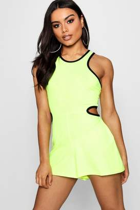 boohoo Vivienne Cut Out Neon Playsuit