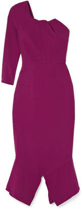 Roland Mouret One-shoulder Crepe Midi Dress - Plum