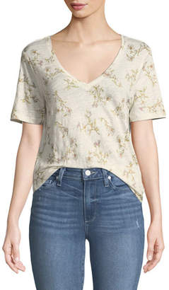 Paige Arielle V-Neck Short-Sleeve Floral-Print Linen Tee