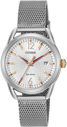 Citizen Eco-Drive Silver Tone Date Dial Stainless Steel Bracelet Ladies Watch