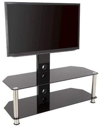 """AVF 65"""" TV Stand with TV Mount - Silver/Black"""