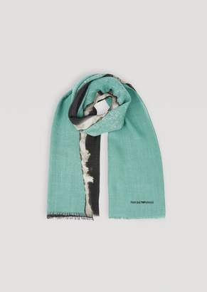 Emporio Armani Scarf In Pure Virgin Wool With Logo