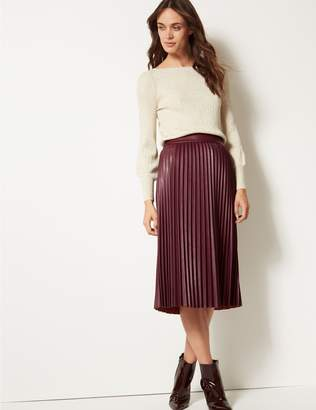 Marks and Spencer Faux Leather Pleated Midi Skirt