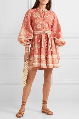 Zimmermann Belted Printed Linen Mini Dress - Red