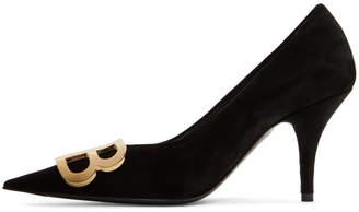 Balenciaga Black Velvet BB Heels