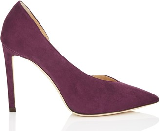 Jimmy Choo SOPHIA 100 Grape Suede Pointy Toe Pumps