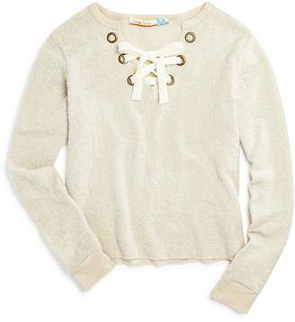 Vintage Havana Girls' Fuzzy Lace-Up Sweater - Big Kid