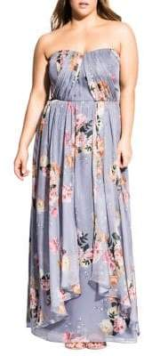 City Chic Plus Whimsy Floral Strapless Maxi Dress