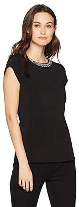 Adrianna Papell Women's Cap Sleeve Knit Top with Clear Stones