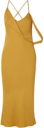 Michelle Mason - Backless Draped Crepe Midi Dress - Saffron