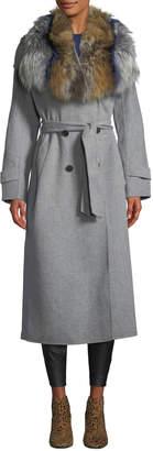 Mackage Blair Wool Coat w/ Tri-Color Fur Collar