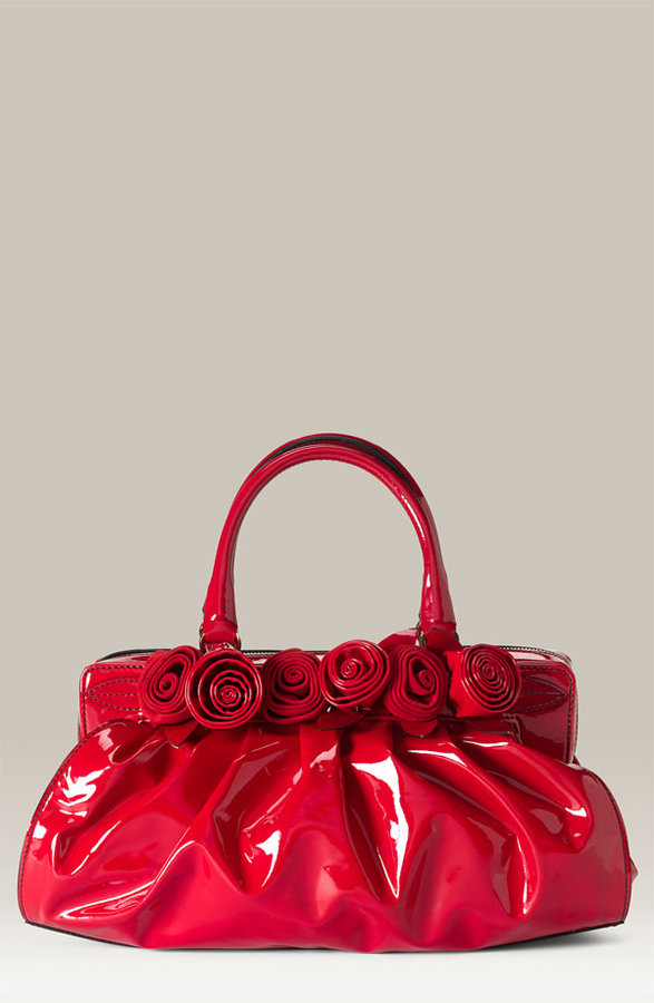 Valentino 'Lacca Fleur' Coated Canvas Satchel