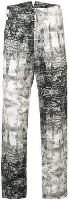 Nude printed trousers