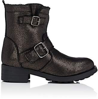 Barneys New York WOMEN'S SHEARLING-LINED LEATHER MOTO BOOTS - SILVER SIZE 6