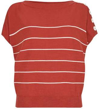Mint Velvet Red Striped Batwing Tee