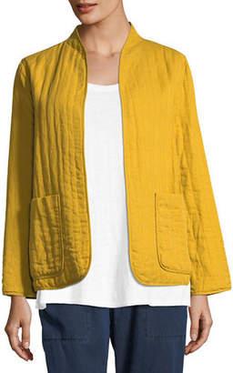 Eileen Fisher Quilted Linen Slub High-Collar Jacket, Plus Size