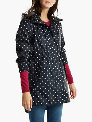 Joules Golightly Pack-Away Waterproof Spot Print Parka Coat