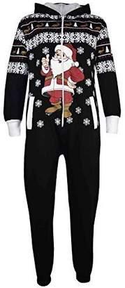 a2z4kids Kids Girls Boys Novelty Christmas Santa Fleece Onesie All In One Jumpsuit 5-13