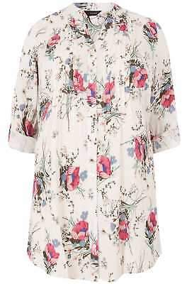 Yours Clothing Women's Plus Size Ivory & Multi Floral Pintuck Longline Blouse With Sequin Detai