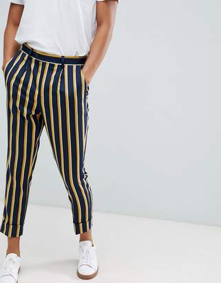 Asos DESIGN cigarette smart PANTS in navy stripe with turn up