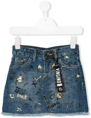 Vingino doodled denim skirt