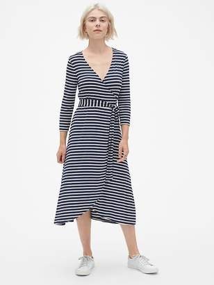 Gap Three-Quarter Sleeve Knit Wrap Midi Dress