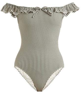 Solid & Striped The Amelia Off The Shoulder Swimsuit - Womens - Green Stripe