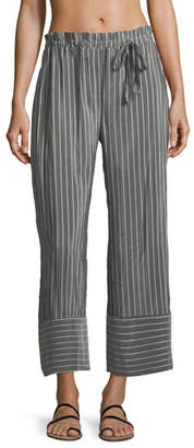 lila.eugenie Jesi Striped Wide-Leg Ankle Cotton-Silk Coverup Pants