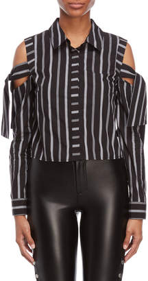 Milly Riley Striped Cold Shoulder Top