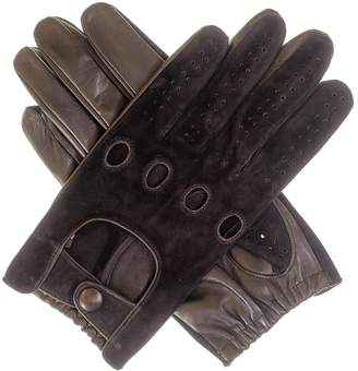 Black Mens Suede and Leather Driving Gloves