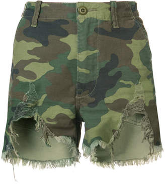 R 13 distressed camouflage print camp shorts