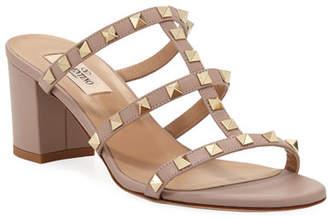Valentino Rockstud Smooth Calf Leather Slide Sandal