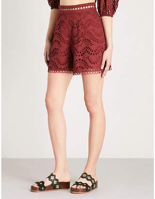 Zimmermann Jaya Wave scalloped high-rise cotton shorts