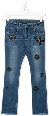 John Richmond Kids TEEN logo patch jeans
