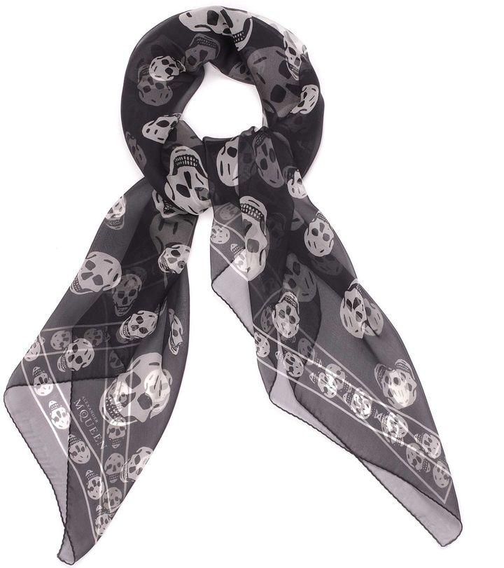 Black/Ivory Skull Scarf