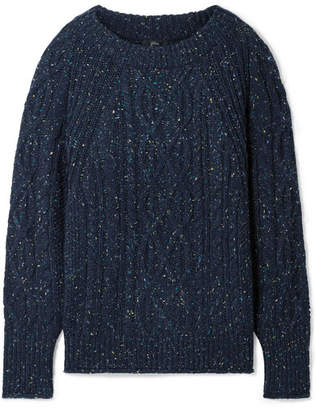 efcc62df5f8 J.Crew Scotty Marled Cable-knit Sweater - Navy