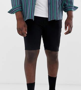 Asos Design DESIGN Plus denim shorts in spray on with power stretch in black
