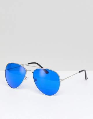 Hexagon Aviator Sunglasses With Coloured Lens - Orange 7X gILDB9