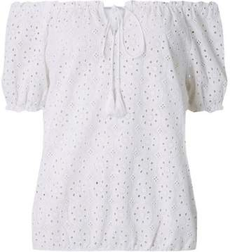 Dorothy Perkins Womens Ivory All Over Broderie Gypsy Bardot Top