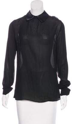 Reformation Faux Leather-Trimmed Long Sleeve Top